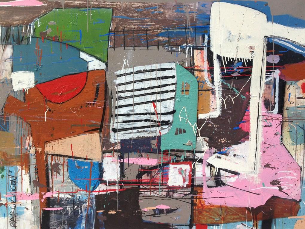 FARUK YİGEN, Şehrin Palaspareleri, 120x160 cm, Tuval Üzerine Karışık Teknik, 2015