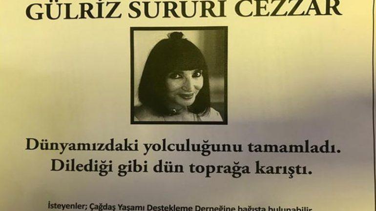 Gülriz Sururi vefat etti sessiz sedasız toprağa verildi