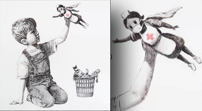 Banksy koronalı günlerde sağlık çalışanları için çizdi